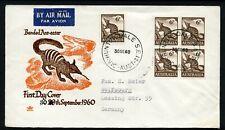Australia 1960 6d Ant-eater - Block of 4 - Royal Fdc