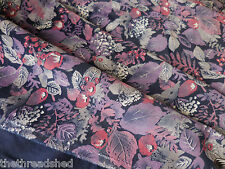 Vintage Velveteen Fabric 46W Purple Navy Floral Gorgeous BTY Drapery