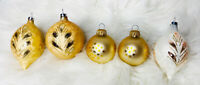 Lot of 5 Vintage Gold and Cream Glass Christmas Ornaments with Stenciled Glitter