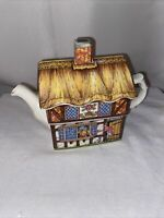 Vintage, Rare Sadler Country Village Teapot Made in England Two Men Cheers Dog