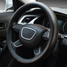 Car Steering Wheel Cover Non-Slip Black Fish-Scale Real Leather For All Car 38cm