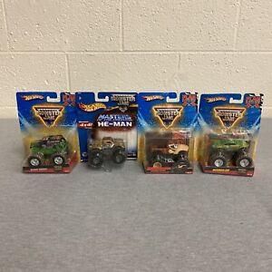 Hot Wheels Monster Jam Flag Series Grave Digger Donkey Kong Avenger [Lot of 4]