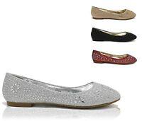Women's Glitter Crystal Jeweled Embellished Slip On Evening Dress Ballet Flats