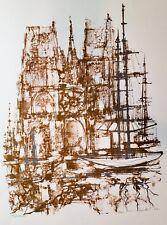 MAX GUNTHER Original Mid-Century PENCIL-SIGNED LITHOGRAPH Notre Dame Paris PROOF