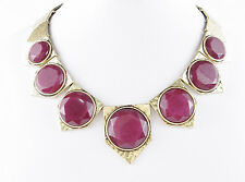 NWT LUCKY BRAND Red Jade Round Stone Hammered Gold-Tone Frontal Necklace $75