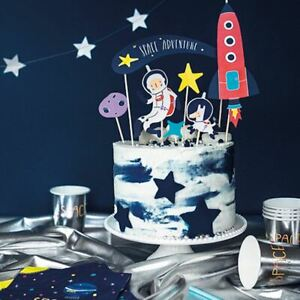 Space Party Cake Toppers | Rocket Astronaut Star Birthday Decorations x7