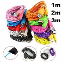 1M 2M 3M Samsung Braided Fabric Micro USB Data Charger Cable for Cellphones