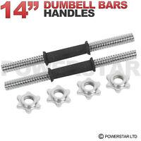 "2.5cm Chrome Dumbell Bars 14"" Set Spinlock Collars Weight Lifting Standard Steel"