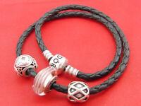 Pandora Amband Charmanhänger Bettelarmband Anhänger Leder Halskette 925 Silber 1
