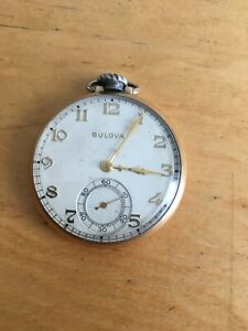 Vintage Men's Bulova Pocket Watch 17AH Swiss 10K RGP 15J Working 1952