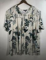 Ulla Popken Women's Size 28/30 Blouse Top Shirt Floral Slinky Stretch