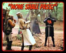 """4.5"""" Monty Python Holy Grail vinyl sticker.  Funny """"NONE SHALL PASS!"""" decal."""