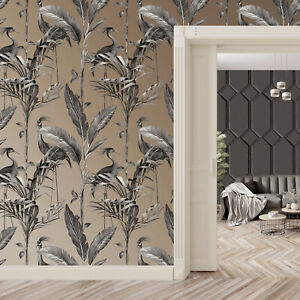 Belgravia Azzura Leaf Charcoal Grey Metallic Gold Tropical Birds Leaf Wallpaper