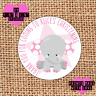 Personalised 24 Christening / Naming Day stickers party labels pink elephant kl