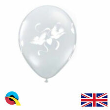 "10 X Diamond Clear Love Doves 11"" Qualatex Latex Wedding Balloons"