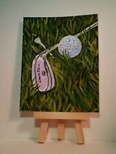 Original Acrylic signed Painting Golf, Sports, by Herbie Hasbrouck, Jr.