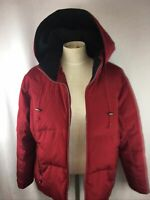 Marvin Richards Women's Size L Goose Down Coat Red Parka Puffer Jacket Hooded