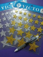 25 3D self adhesive SILVER glitter foam stickers -STAR