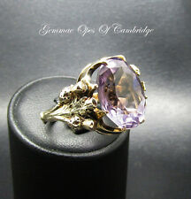 Large Antique 9ct Gold Scottish Amethyst Ring Size N 11.2g 12 carats
