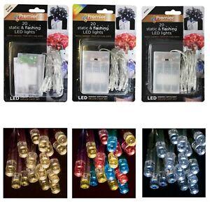 Weihnachten 20 Statische / Blinkende LED Batterie Lichter Klar Kabel Farbauswahl