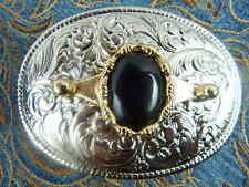 NUOVA Argento realizzato a mano in metallo fibbia della cintura nero onice Cowboy Western Goth
