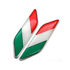 2Pcs Aluminum Car Auto SUV Italy Flag Italian Emblem Badge Stickers Fender Decal