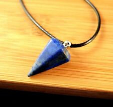 Natural Lapis Luzuli Pendulum Gemstone Pendant on a Black Cord Necklace #574