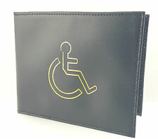 REAL LEATHER DISABLED BADGE HOLDER WALLET DISABILITY PARKING COVER BLACK 1499