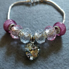 Silver Charm Bracelet with Pink Acrylic and Glass Charms