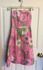 Lilly Pulitzer Strapless Knee Length Summer Spring Dress Size 2 Pink Floral