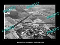 OLD POSTCARD SIZE MILITARY PHOTO AERIAL VIEW OF RAF GOXHILL LINCOLNSHIRE c1940