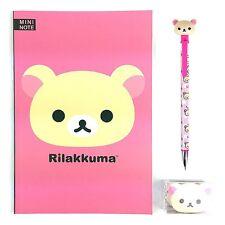 San-x Rilakkuma A5 Note School Supply Stationary Note Pencil Eraser Set : Pink