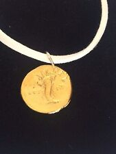 """Aureus Of Domitian Coin WC28 Gold Made From Pewter On 18"""" White Cord Necklace"""