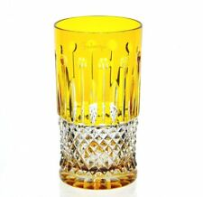 Faberge Xenia Yellow Gold Cut to Clear Cased Crystal Highball Collins New Signed