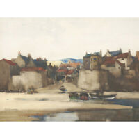 Cameron Robin Hood's Bay Seascape Boats Harbour Painting Canvas Art Print Poster