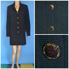 ST JOHN Collection Black Jacket Coat L 12 14 DUSTER DRESS Buttons Collared Lace