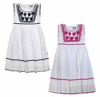 Girls Dress Floral Embroidery Trim Shine Stripes 100% Cotton Dresses Age 2-10 Yr