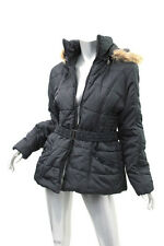 RAMPAGE Black Faux Fur Hooded Quilted Belted Jacket XL