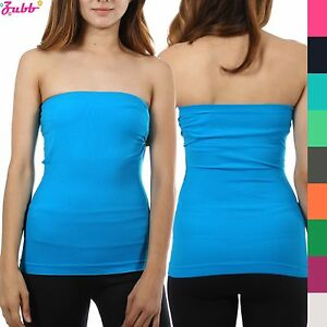 Women Sleeveless Strapless Tube Top long Bandeau Stretch Ribbed Basic Layering