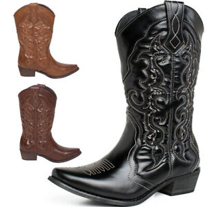 SheSole Womens Ladies Cowboy Boots Western Cowgirl Country Shoes Wide Calf Size