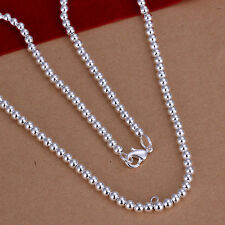 hot! Sterling solid silver fashion jewelry Chain 4mm beads Necklace XLSN114