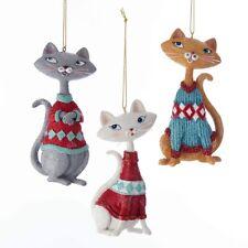 Cat in Sweater Ornaments Set of 3 Kurt Adler Retro Mid Century (50's) Christmas