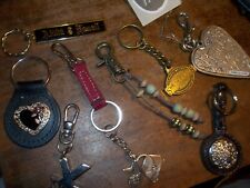 Assorted Keychain Lot Beaded, Silver, Leather Etc.