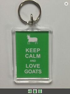 KEEP CALM AND LOVE GOATS Keyring - Xmas Gift Idea