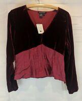 Boston Proper NWT Size 14 Burgundy Velvet Silk Peasant Top Boho