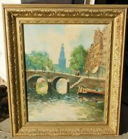 VIntage French cityscene, signed mystery artist, 16 x 20