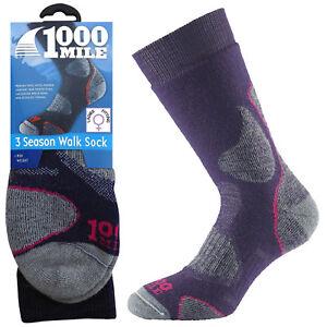 1000 Mile 3 Season Ladies Womens Winter Hiking Walking Comfort Merino Wool Socks