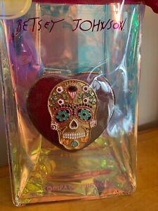 $35 Betsey Johnson multi stone jeweled skull compact mirror B2