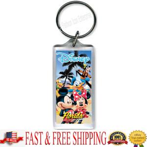 Disney Keychain Mickey Minnie Donald GoofyPluto Lucite Keychain Florida Namedrop