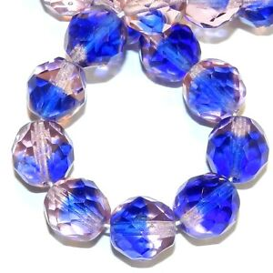 """CZ695 Pink & Blue Bi-Color 12mm Fire-Polished Faceted Round Czech Glass Bead 16"""""""